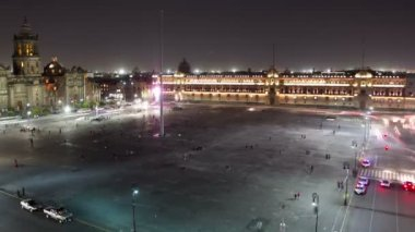Time-lapse of the zocalo in mexico city — Stock Video