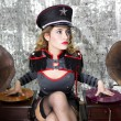 Stock Photo: Beautiful military disco DJ with gramophones