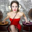 Stock Photo: Beautiful disco DJ with gramophones