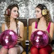 Stock Photo: Beautful disco twins