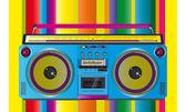 Vintage ghettoblaster cassette tape — Stock Vector