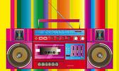 Vintage ghettoblaster cassette tape — Vector de stock