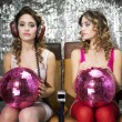 Stock Photo: Beautiful disco twins