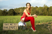 Summer party disco girl — Stockfoto