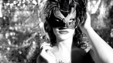 Female with venetian carnival mask — Stock Video