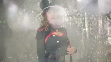 Woman dancing in military dress — Stock Video