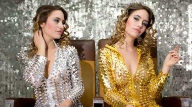 Sexy disco woman filmed twice — Stock Video