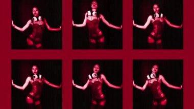 Beautiful sexy disco dancing girl in club setting — Stock Video