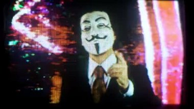 A man with an anonymous v for vendetta mask — Vídeo de stock