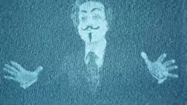 A man with an anonymous v for vendetta mask — Stock Video