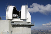 View of pyrenees from pic du midi with observatory — Stock Photo