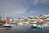 Fishing boats moored in brixham harbour, devon — Stock Photo
