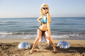 Sexy blonde beach woman — Stock Photo