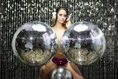 Beautiful topless disco dancer — Stock Photo