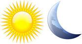 Zon en maan — Stockvector