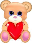 Cute bear with heart — Stock Vector
