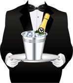 WAITER WITH CHAMPAGNE — Stock Vector