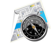 MAP AND COMPASS — Stock Vector