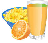 ORANGE JUICE AND CORN FLAKES — Vector de stock