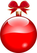 Red christmas bauble — Stock Vector