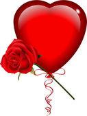 Balão de coração com rosa — Vetor de Stock