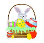 пасхальный кролик с корзину и яйца — Cтоковый вектор