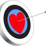 VALENTINE HEART ON TARGET — Stock Vector