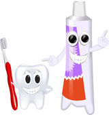 Funny toothbrush and toothpaste — Vector de stock