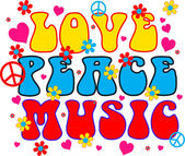 Love peace music — Stock Vector