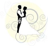 Bruiloft bruid en bruidegom — Stockvector