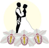 Bride and groom wedding day — Stock Vector