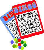 Bingo cards balls and counters — Stock Vector