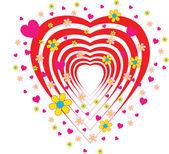 Corazón rojo con rosas — Vector de stock