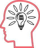 IDEA HEAD WITH LIGHT BULB — Stock Photo