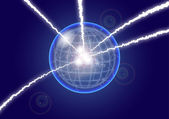 Magic crystal sphere with electric lighting, abstract backgrounds — Stock Photo