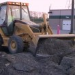 Backhoe Loader Pushing Pavement — Stock Video #14446255