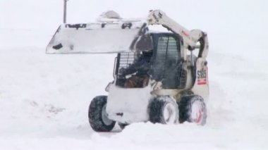 Bobcat Plowing Snow — Stock Video