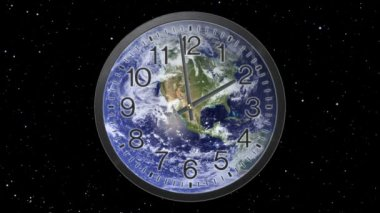 Twelve hour time lapse of clock with earth background, running from noon to midnight.