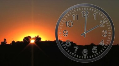 Clock With Sunset Time Lapse — Stock Video
