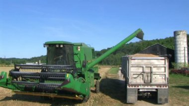 Combine Emptying Wheat — Stock Video