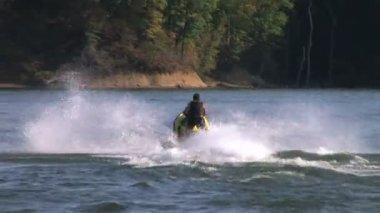 Jet Ski Jumps On Lake — Stock Video