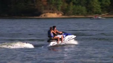 Young Couple On Jet Ski — Stock Video
