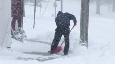 Man Shoveling Snow — Stock Video