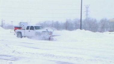 Truck Plowing Snow — Stock Video