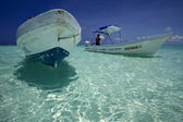 Boats in sian kaan mexico blue lagoon — Stock Photo