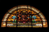Colored window in the church of chiavari italy — Stock Photo