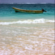 Постер, плакат: Motor boat boat and coastline in mexico playa del carmen