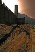 The rock of bellinzona switzerlan — Stock Photo
