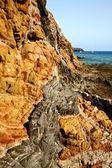 Vaggar stenen sky vatten kustlinje och sommaren i lanzarotes spa — Stockfoto