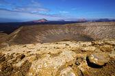 Vulcanic timanfaya rock stone and summer in los volcanes lanzar — Stock Photo